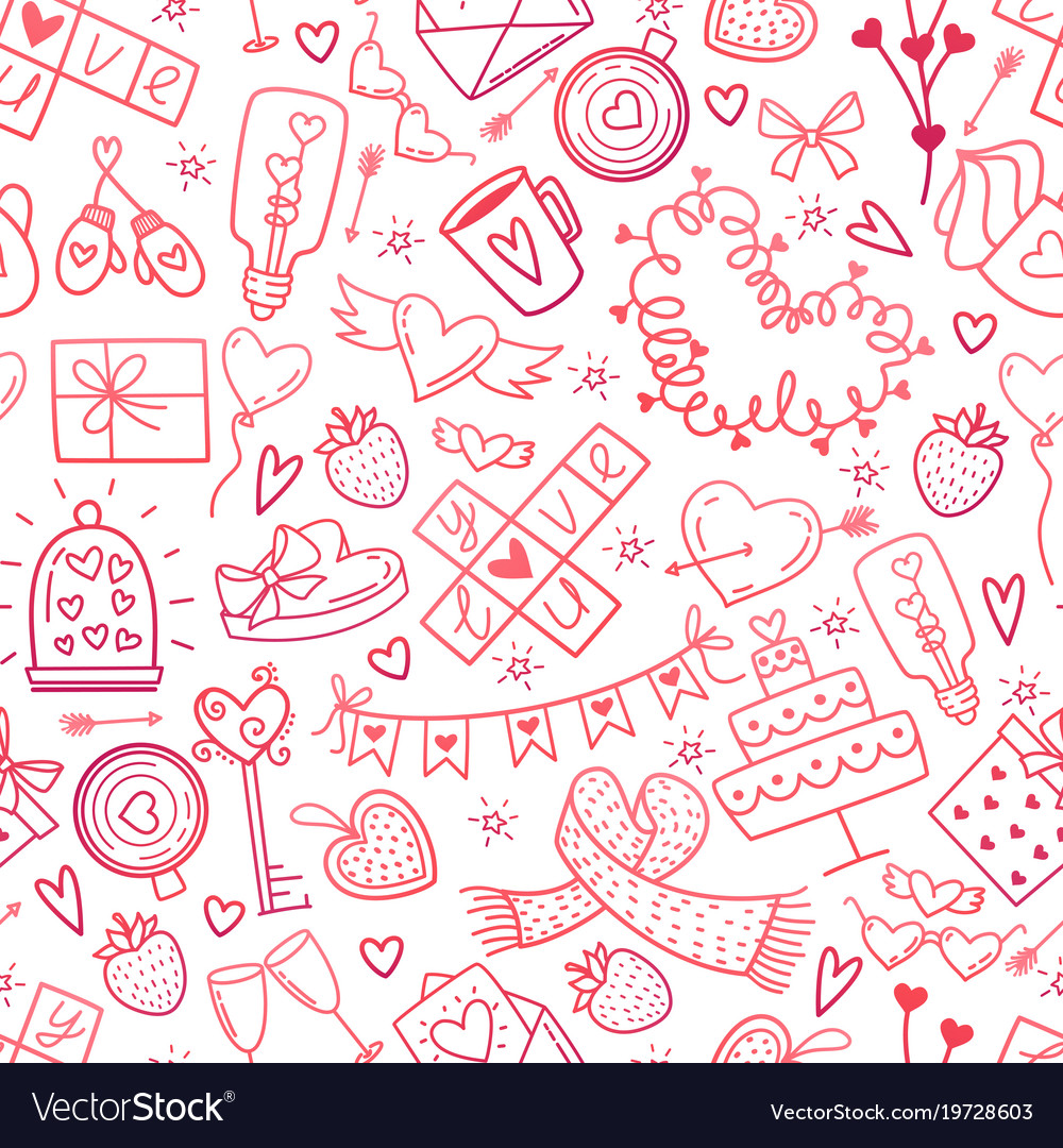 Valentine day doodles elements pattern cute