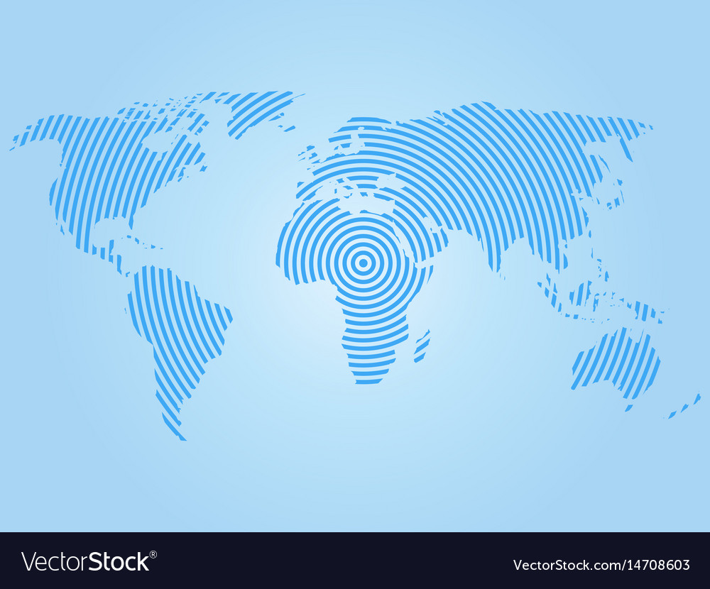 World map of blue concentric rings on white vector image gumiabroncs Gallery