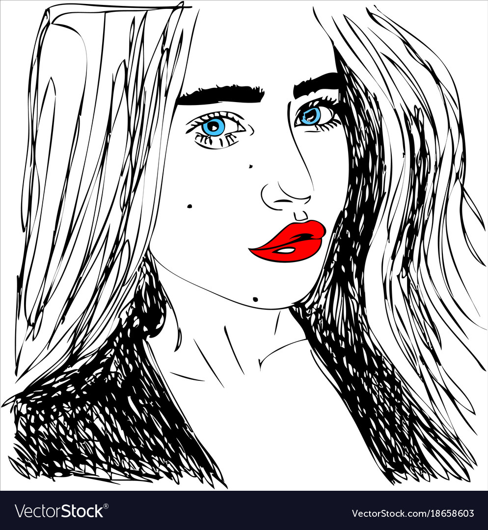 Young woman with red lips one line design