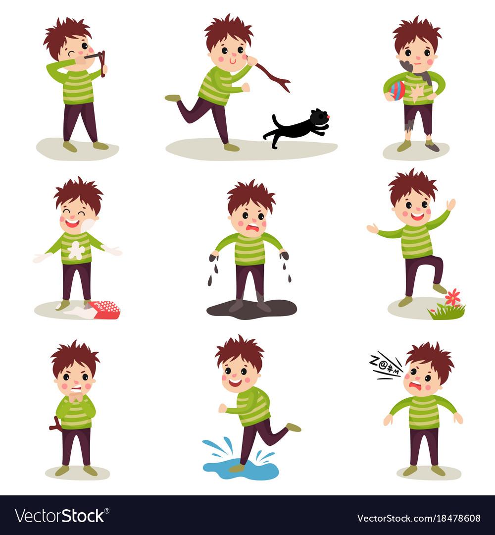 Cartoon character of naughty kid set playing