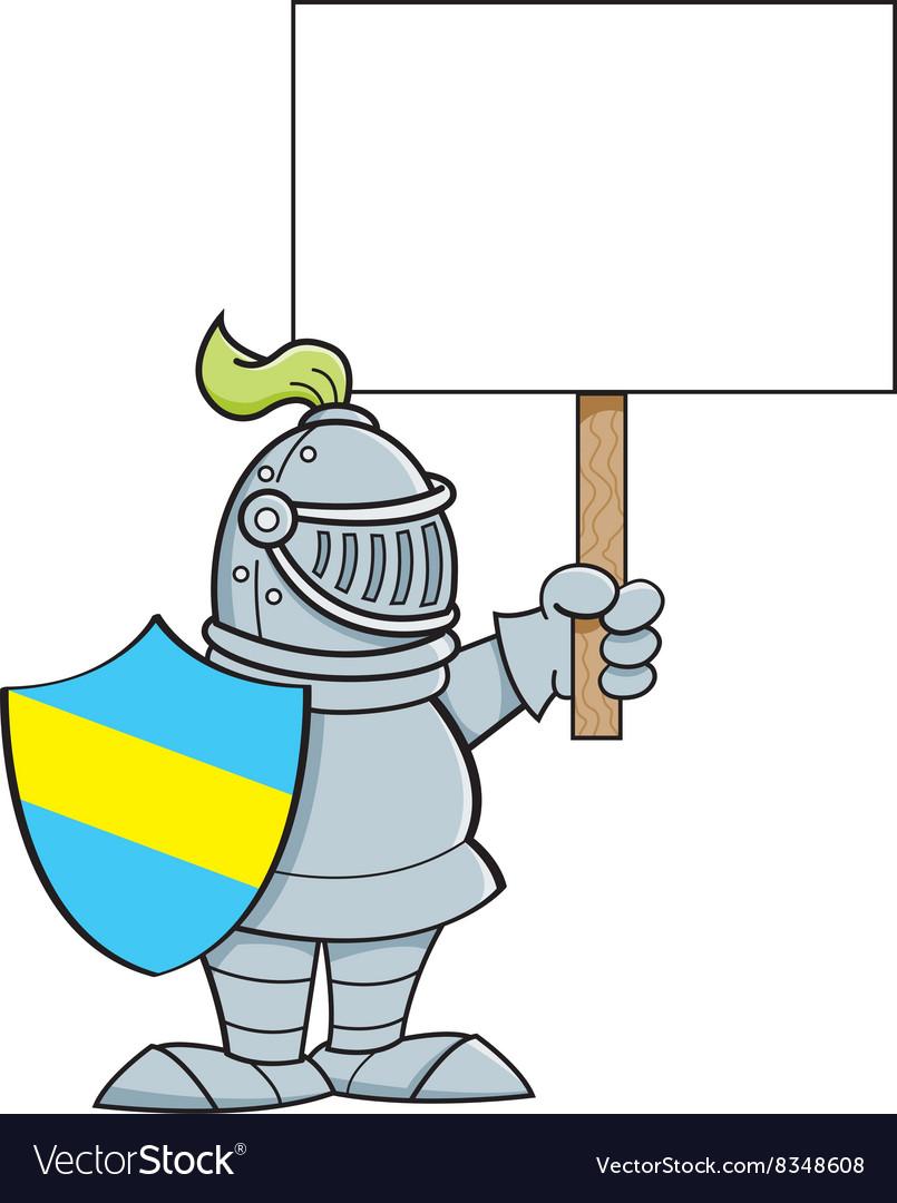 Cartoon knight holding a sign