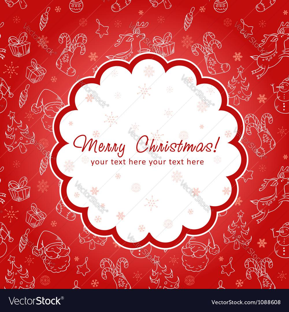 Decorative Christmas postcard on seamless