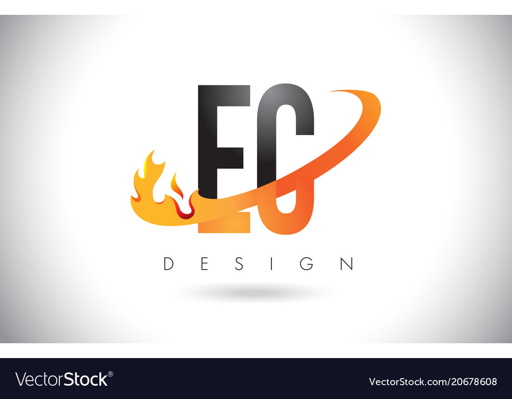 Ec e c letter logo with fire flames design and vector image