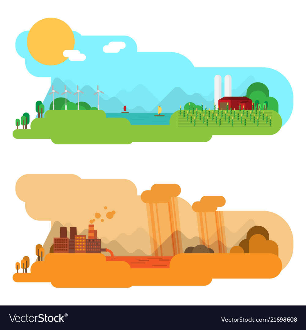 Flat design concept with icons of ecology