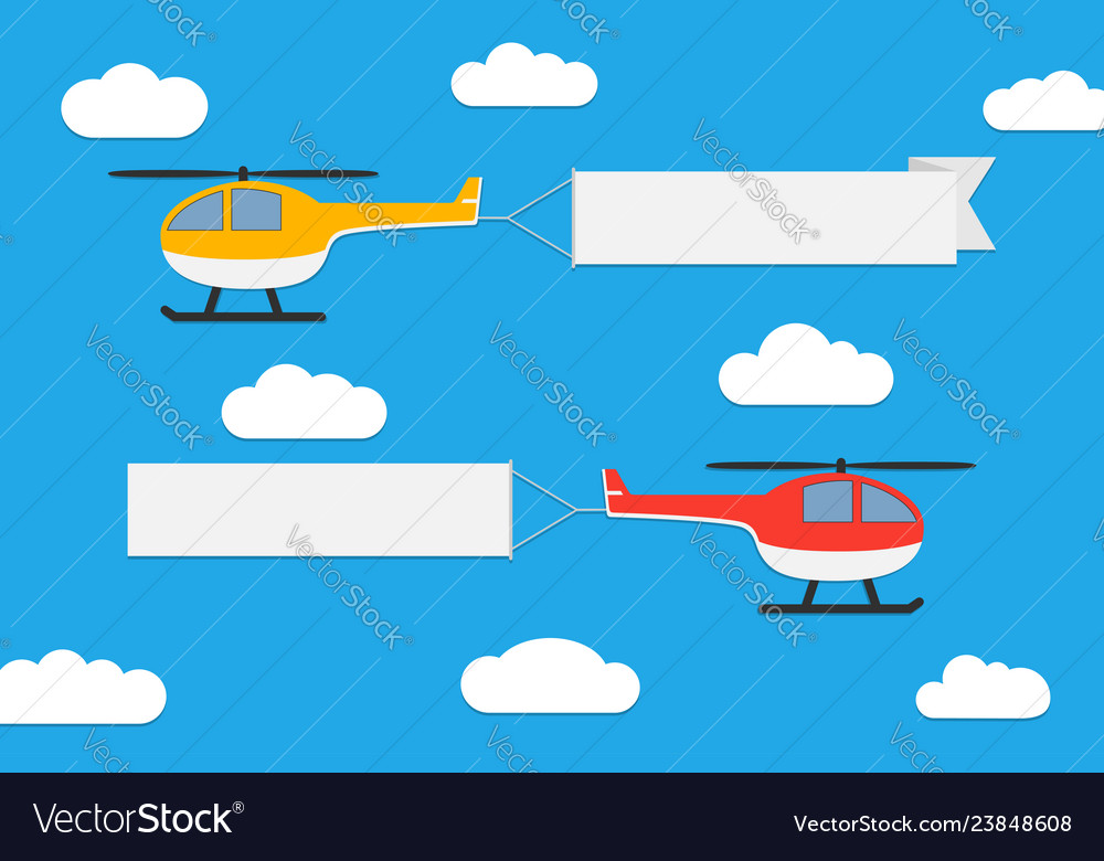 Flying helicopters with banners
