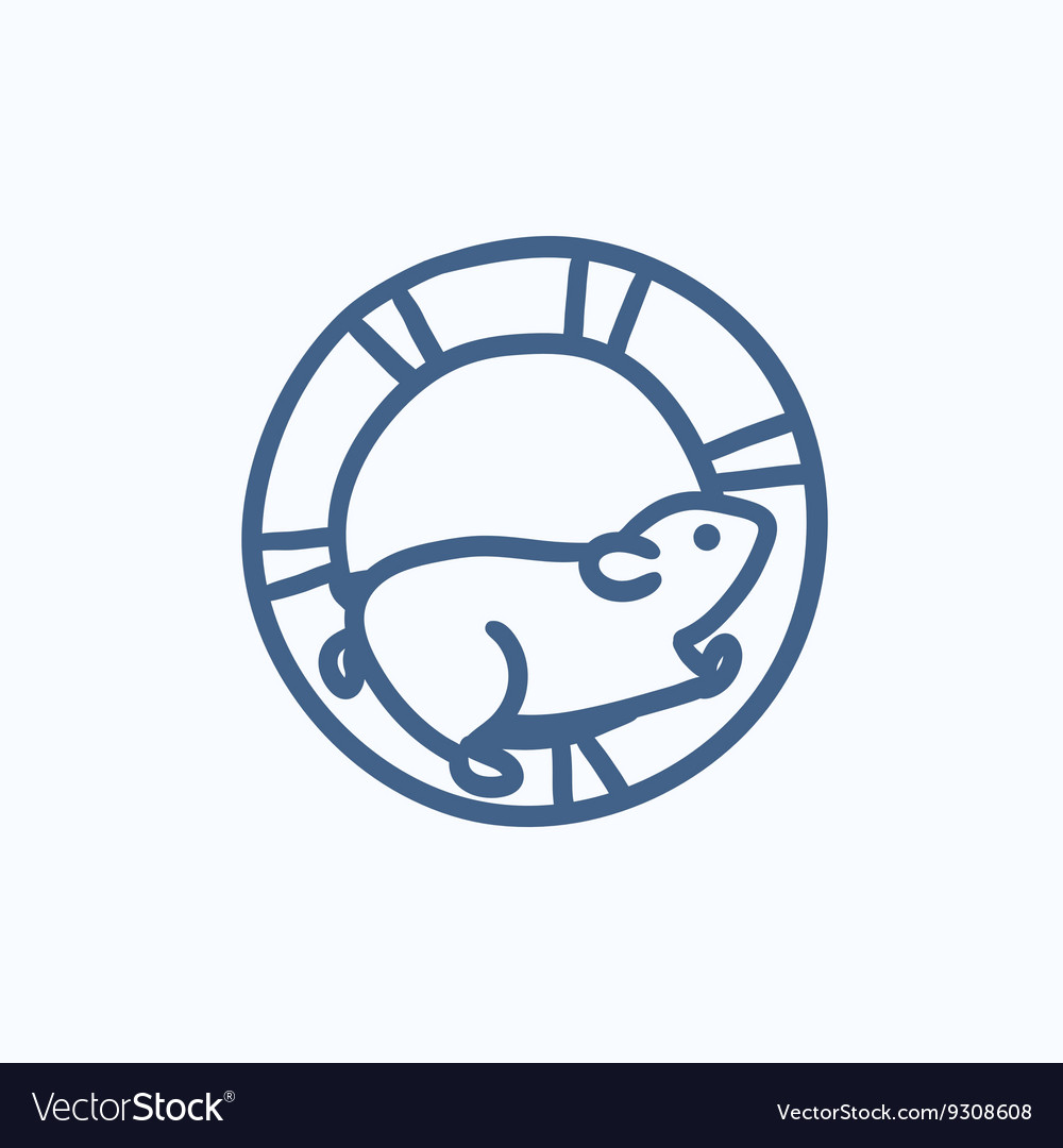 Hamster running in the wheel sketch icon