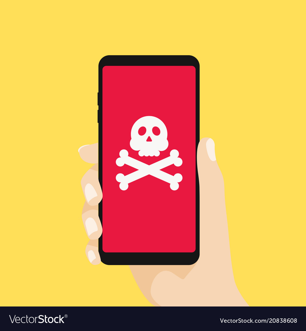 Hand holding smartphone with skull sign