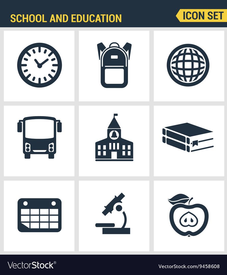 Icons set of premium quality of elementary school