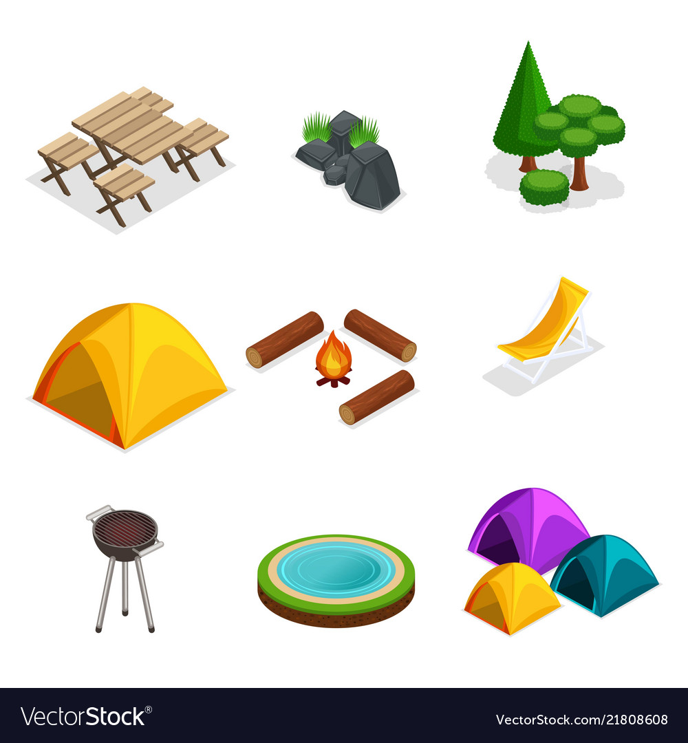 Isometric set for camping outdoor