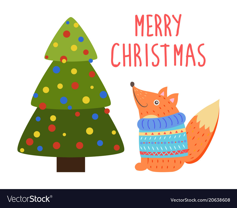 Merry christmas greetings cartoon fox or squirrel