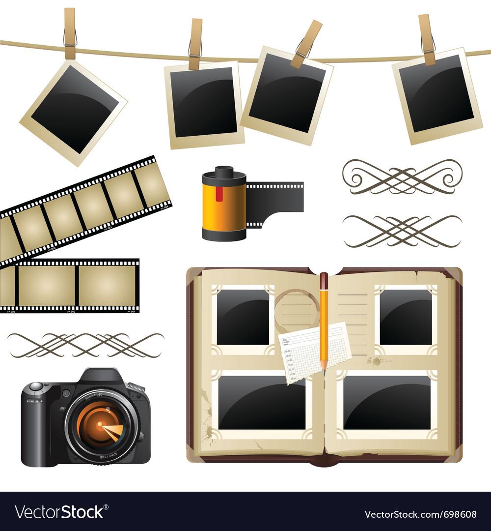Retro-styled photography set vector image