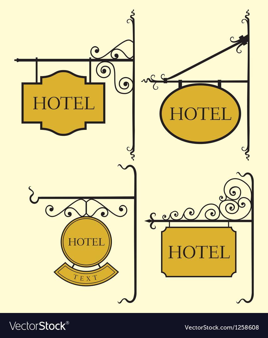 Set of hotel sign board vector image