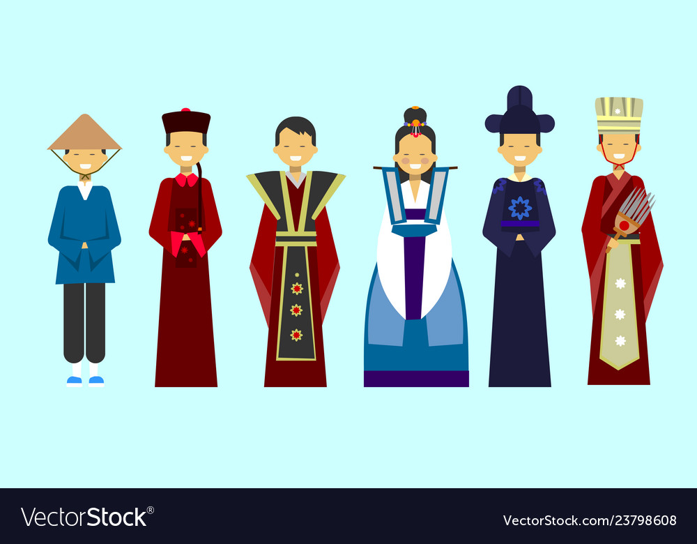 Traditional asian clothes set people wearing