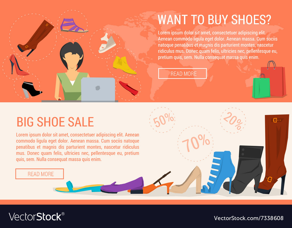 shopping and woman shoe sale Vector Image