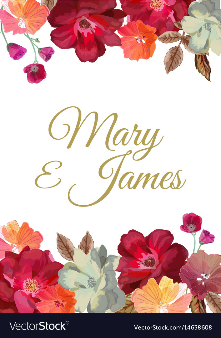 Wedding Invitation With Floral Background Hand