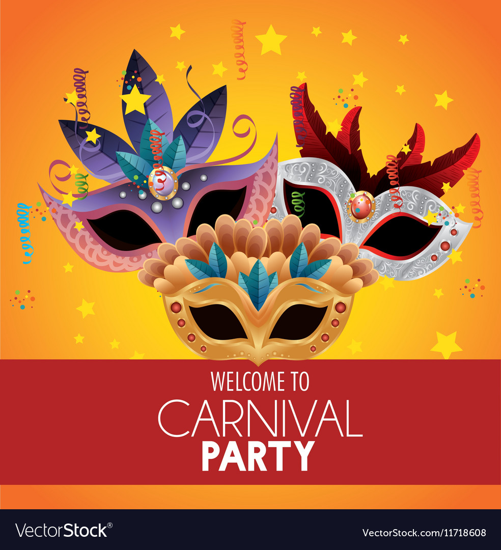 Welcome carnival party bright masks feathers stars