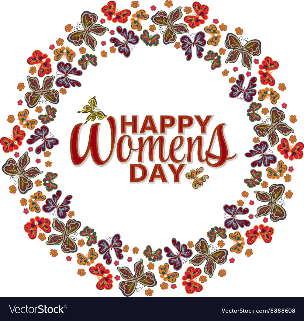 Womens day invitation card Happy Womens day vector image