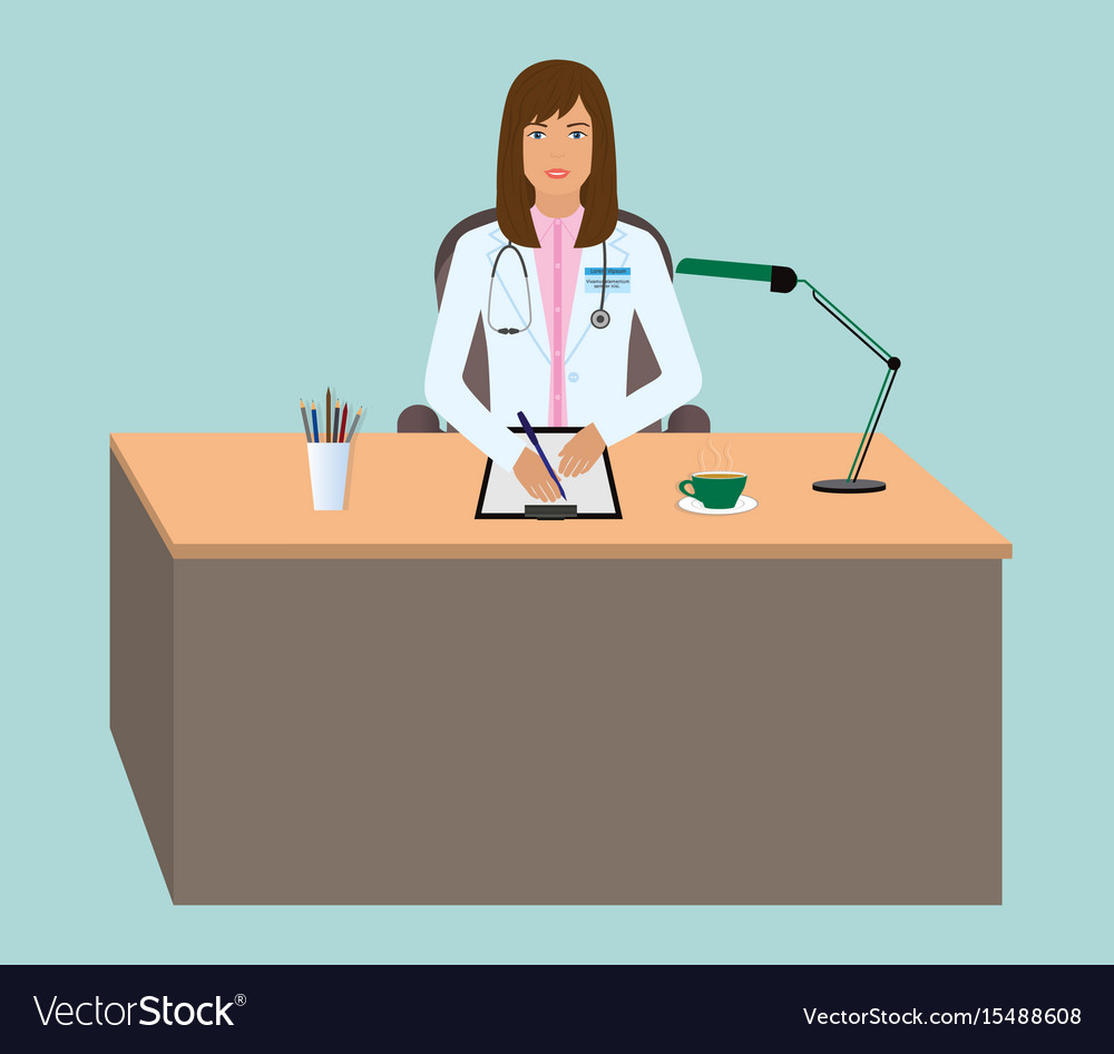 Young woman doctor taking a patients medical