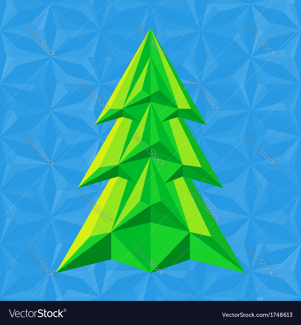 Abstract-green-christmas-tree-on-blue