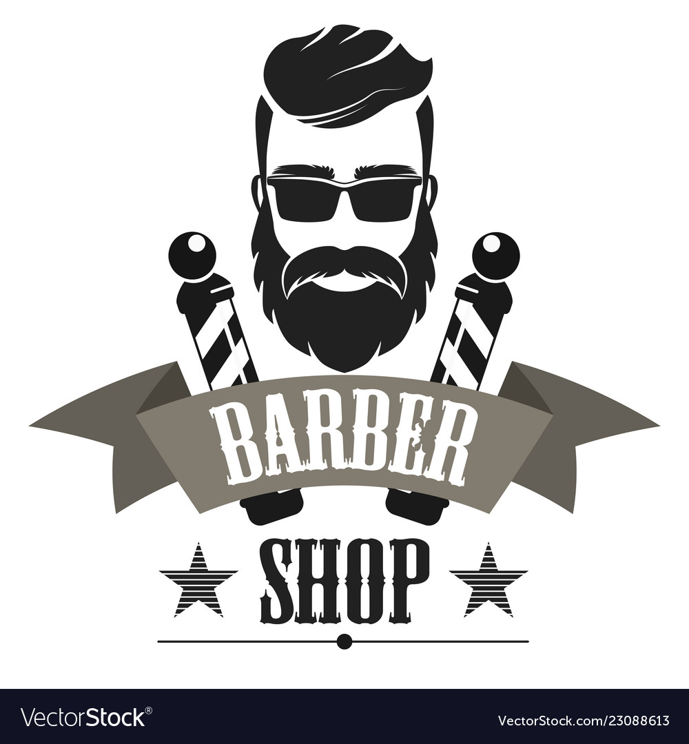 Barber shop retro label logo vintage emblem or