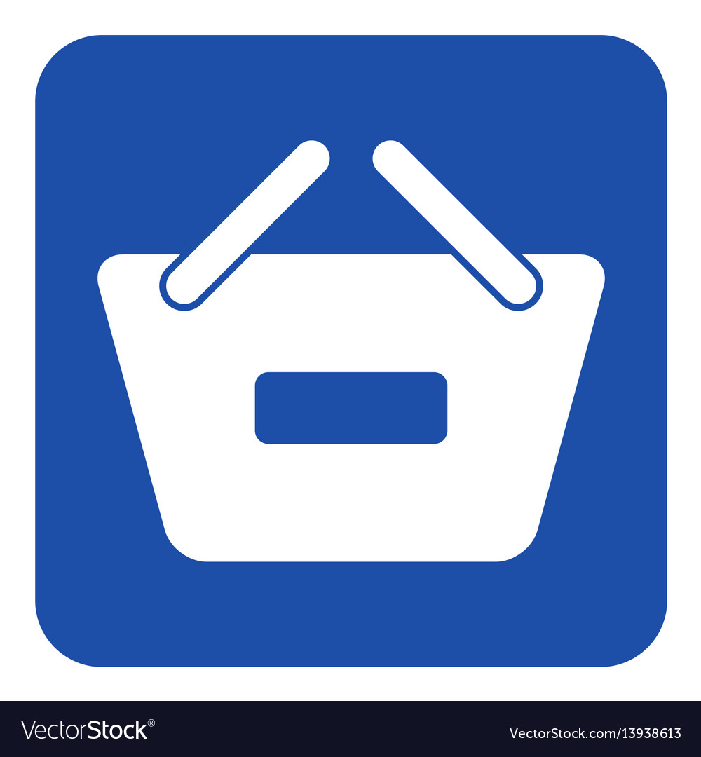 Blue white sign - shopping basket minus icon