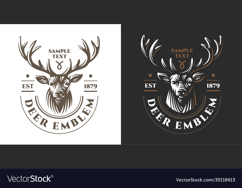 Deer head design element in vintage style
