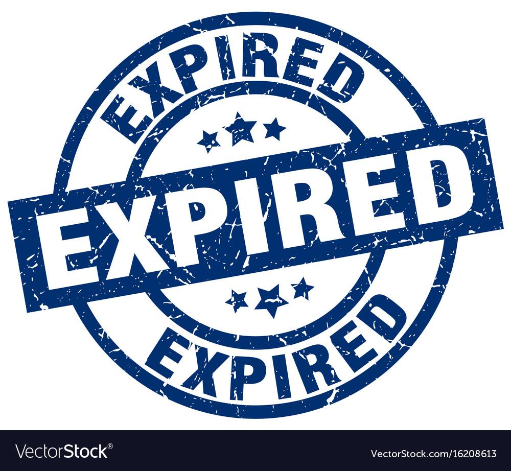 Expired blue round grunge stamp vector image