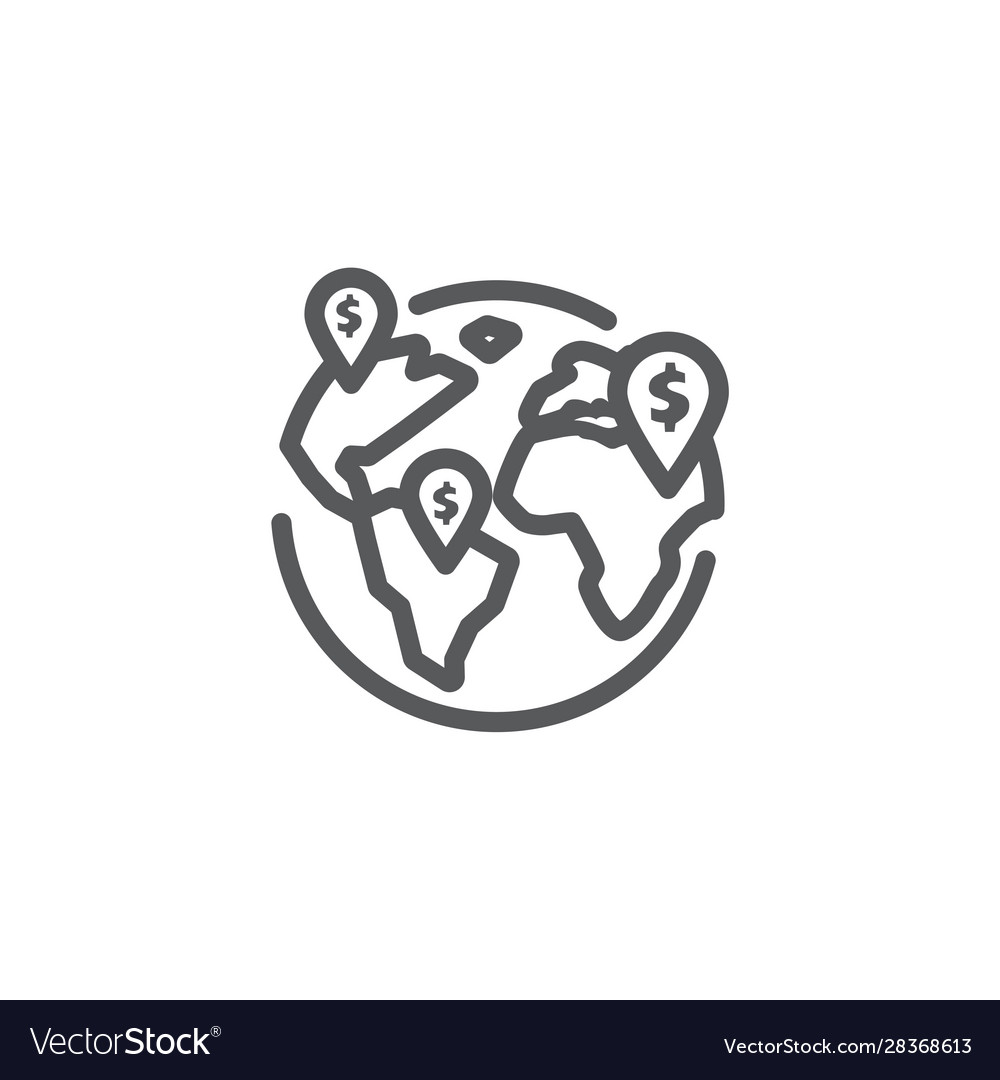 Global business line icon on white background