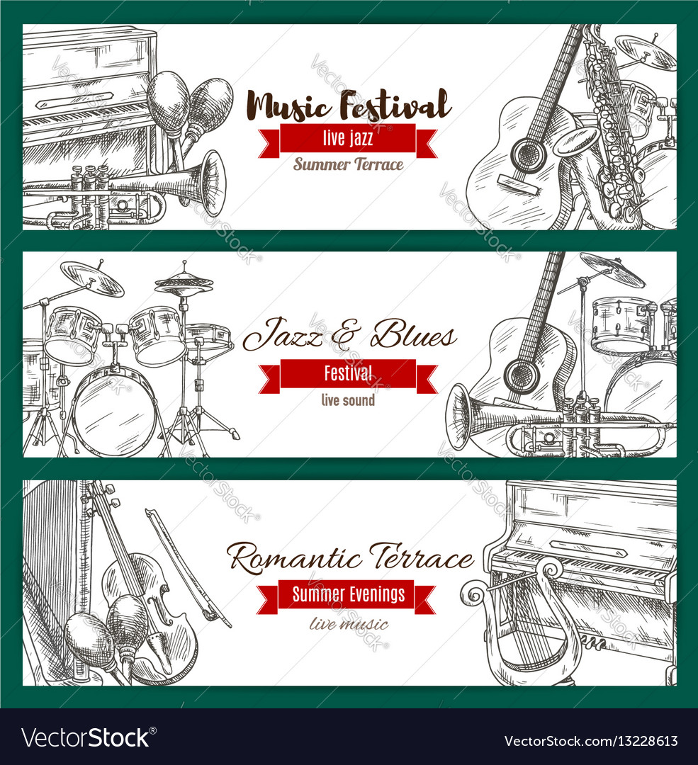 Music festival banner set with music instrument