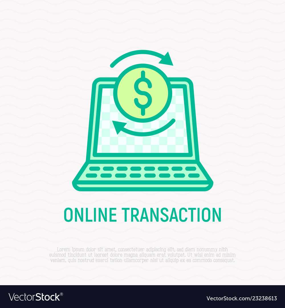 Online transaction thin line icon