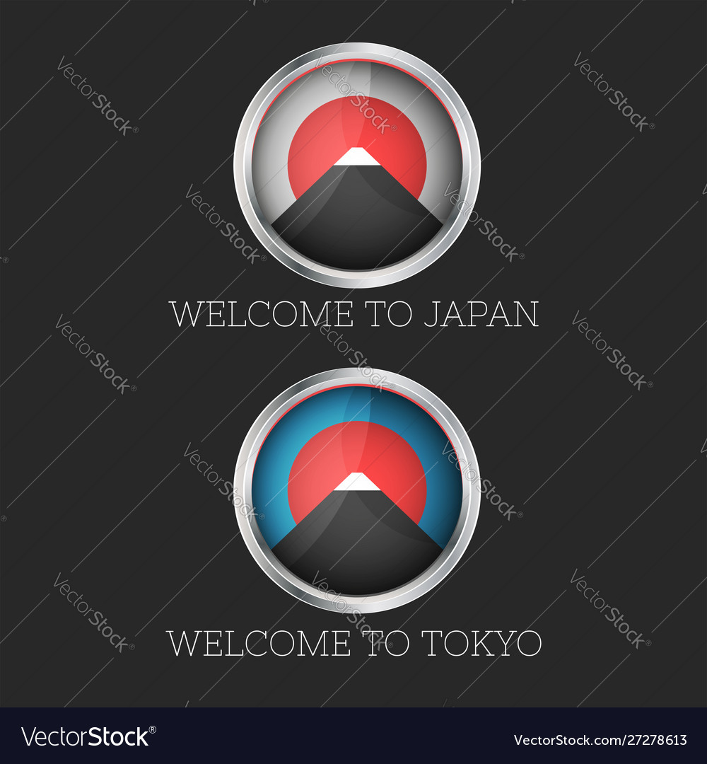 Set 3d icon welcome to japan and tokyo mount fuji