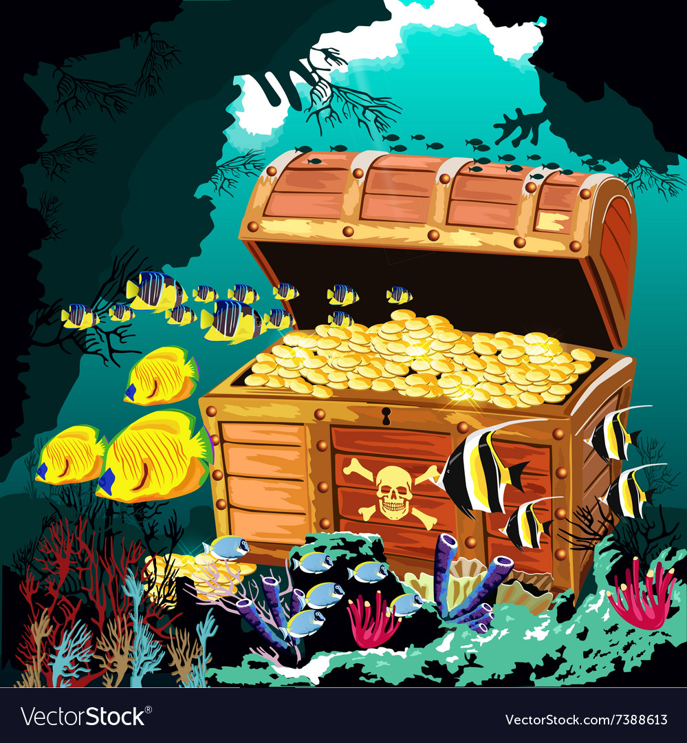 underwater cave with an open pirate treasure chest