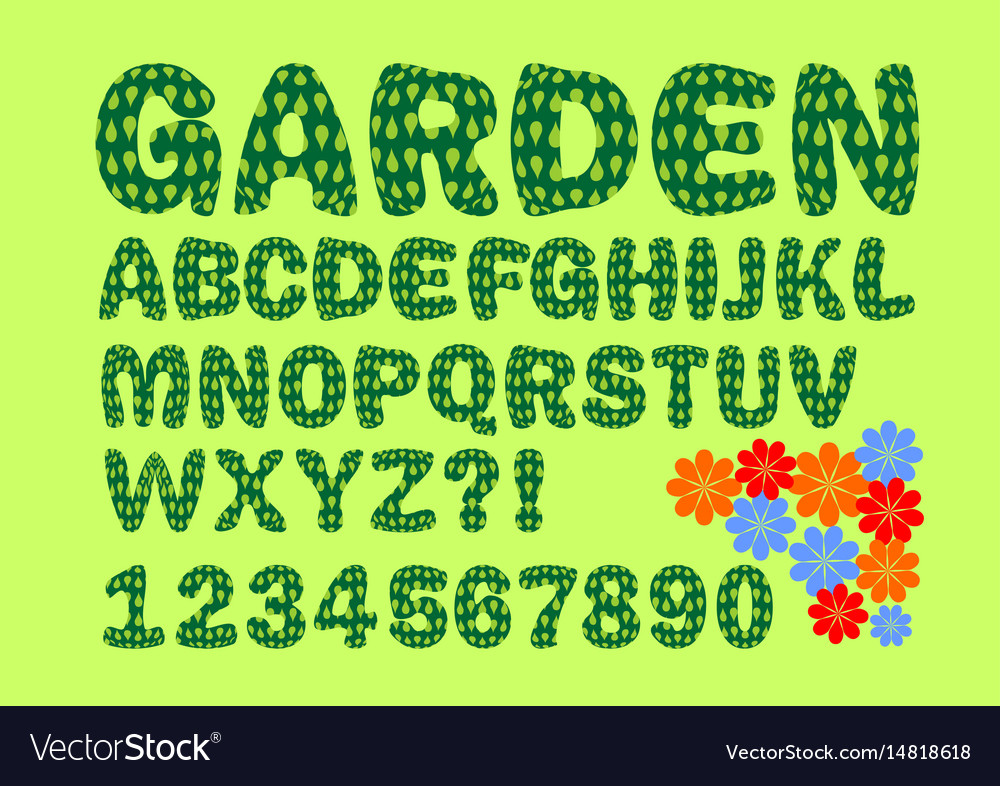 Alphabet with garden or nature design in green vector image