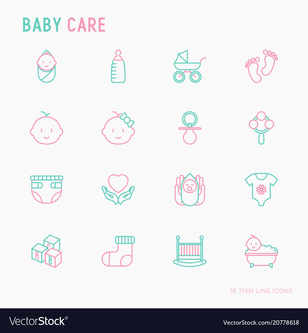 Baby care thin line icons set