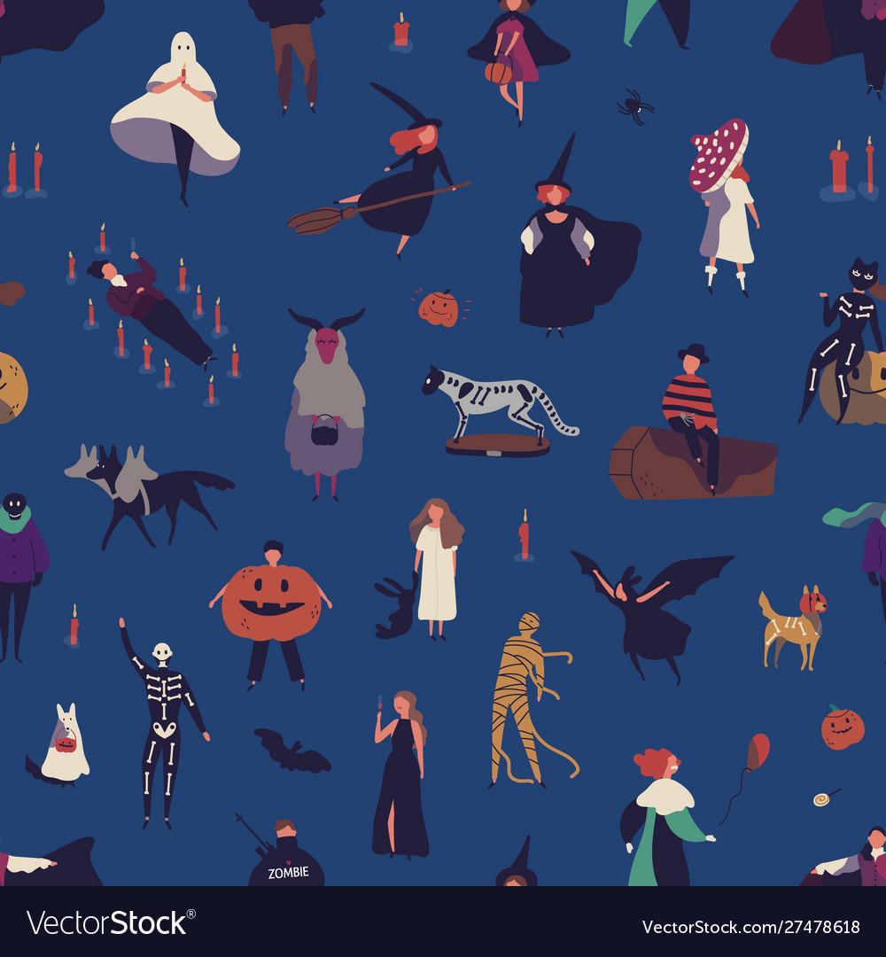 Halloween characters flat seamless pattern