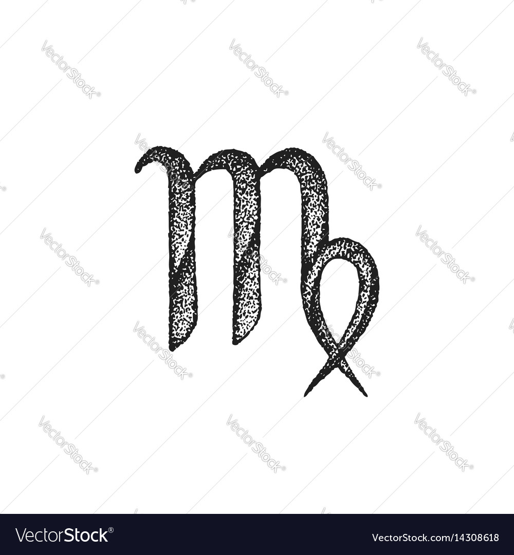 Hand drawn virgo zodiac sign vector image