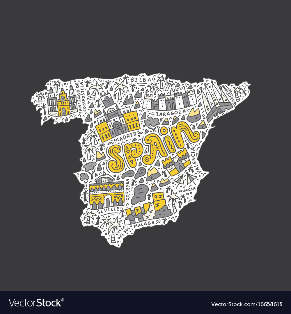 Map Of Spain Download Free.Handdrawn Map Of Spain