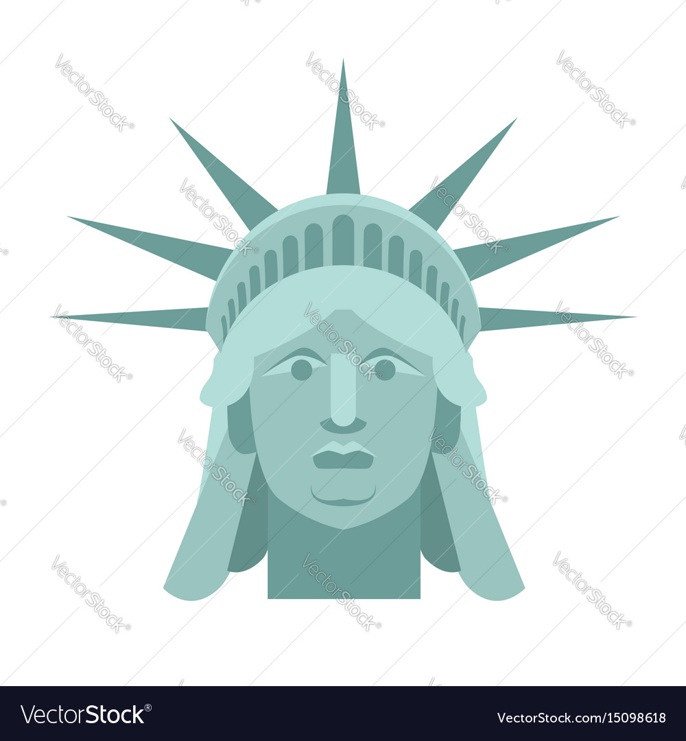 9624538930ccd Head of statue of liberty face sculpture america Vector Image