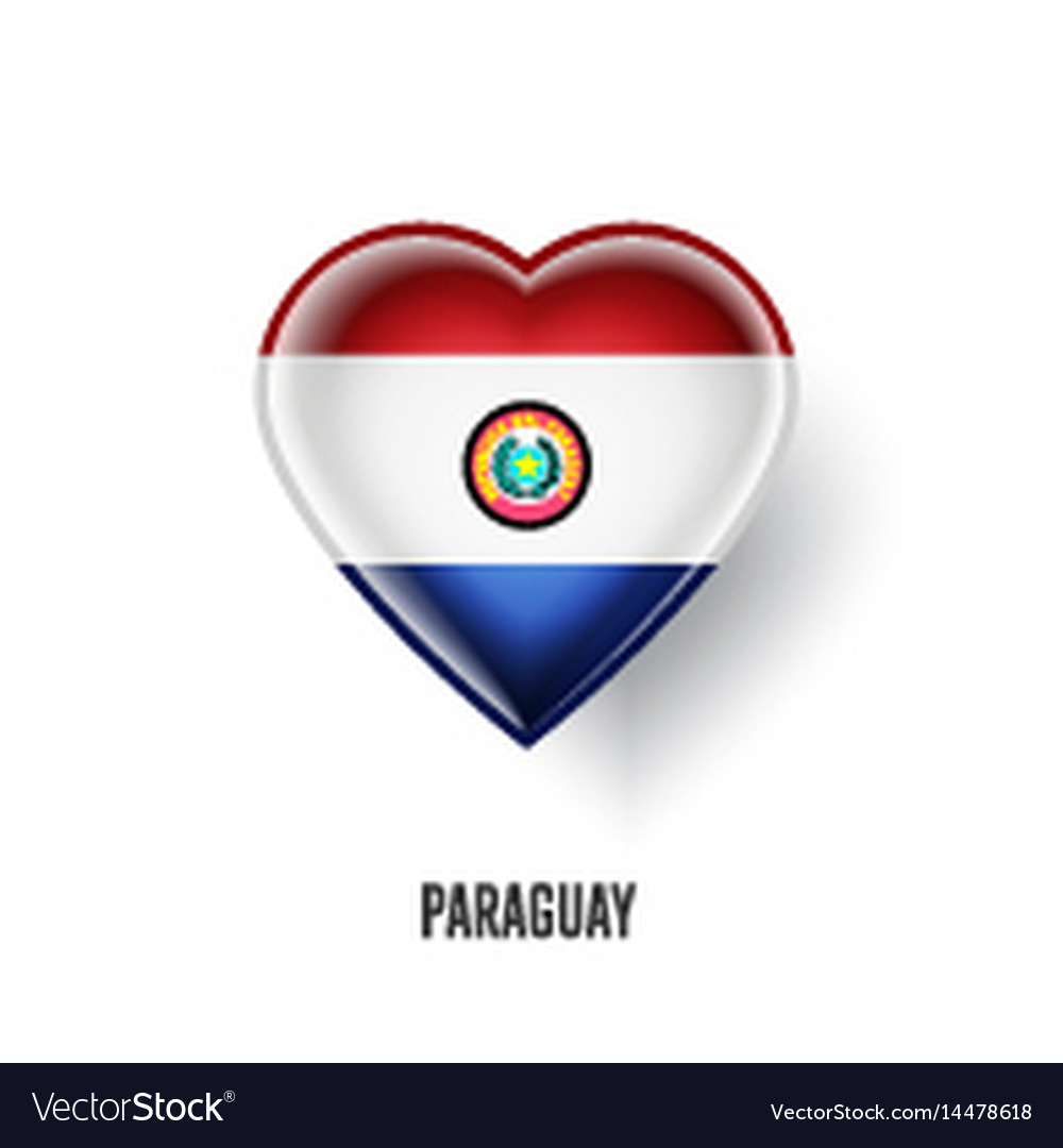 Patriotic heart symbol with paraguay flag