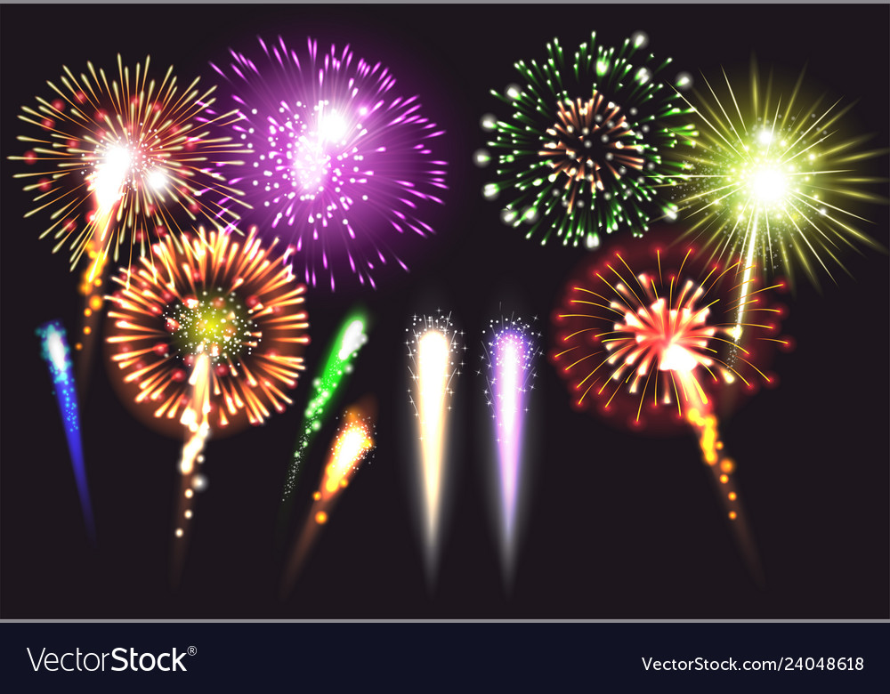 Realistic fireworks icon set