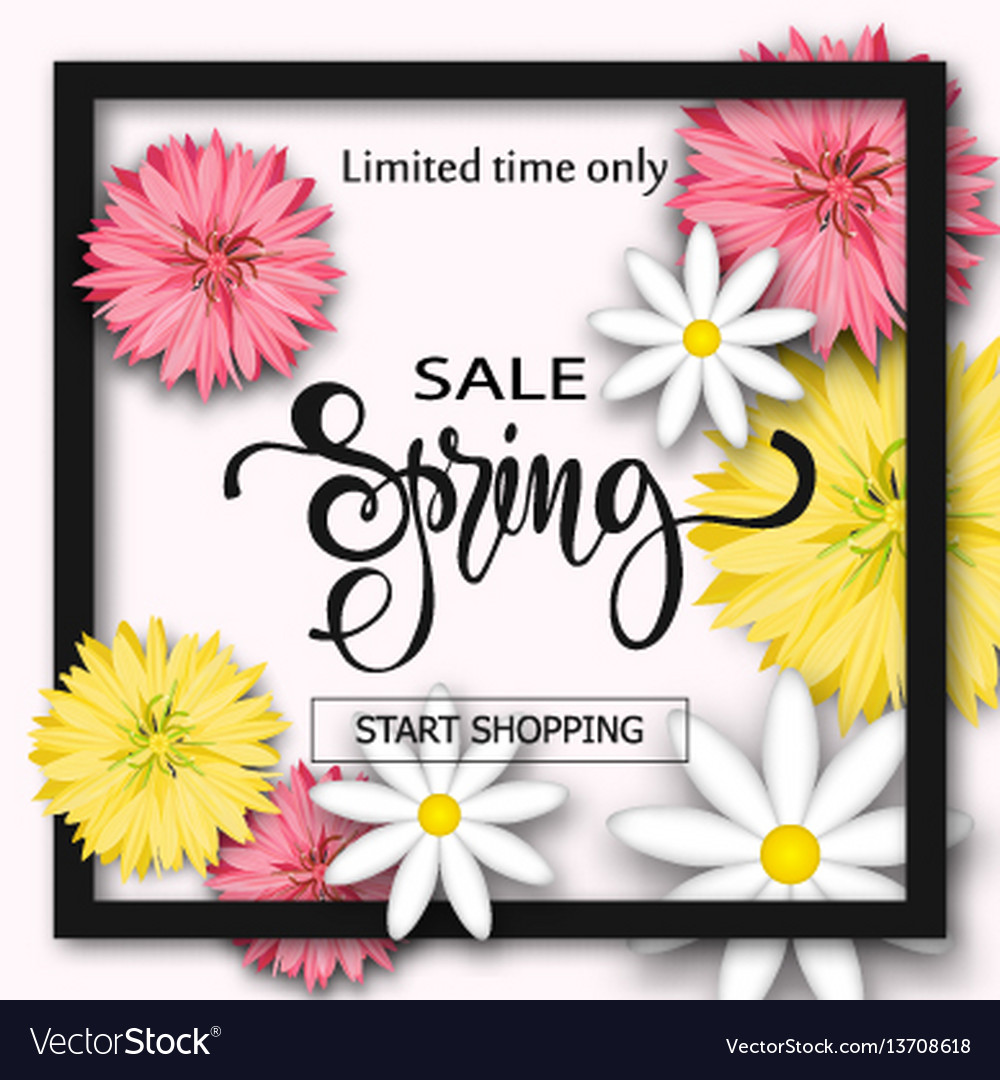 Sale background with flowers season discount