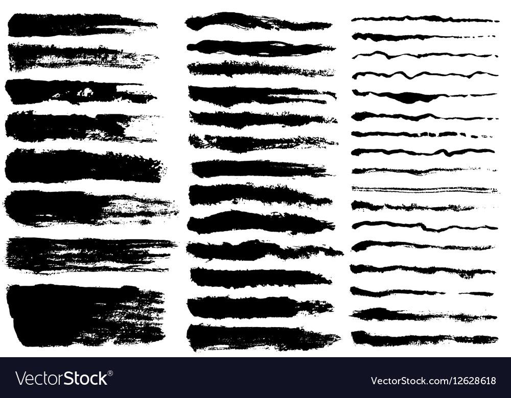 Set of black paint ink brush strokes