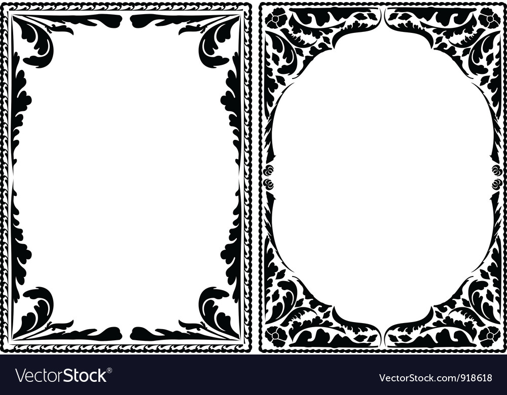 Silhouette decorative frames Royalty Free Vector Image