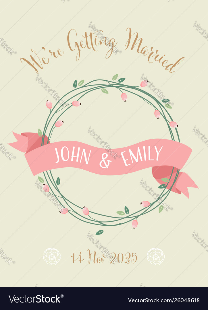 Sweet Retro Wedding Invitation Card Eps10