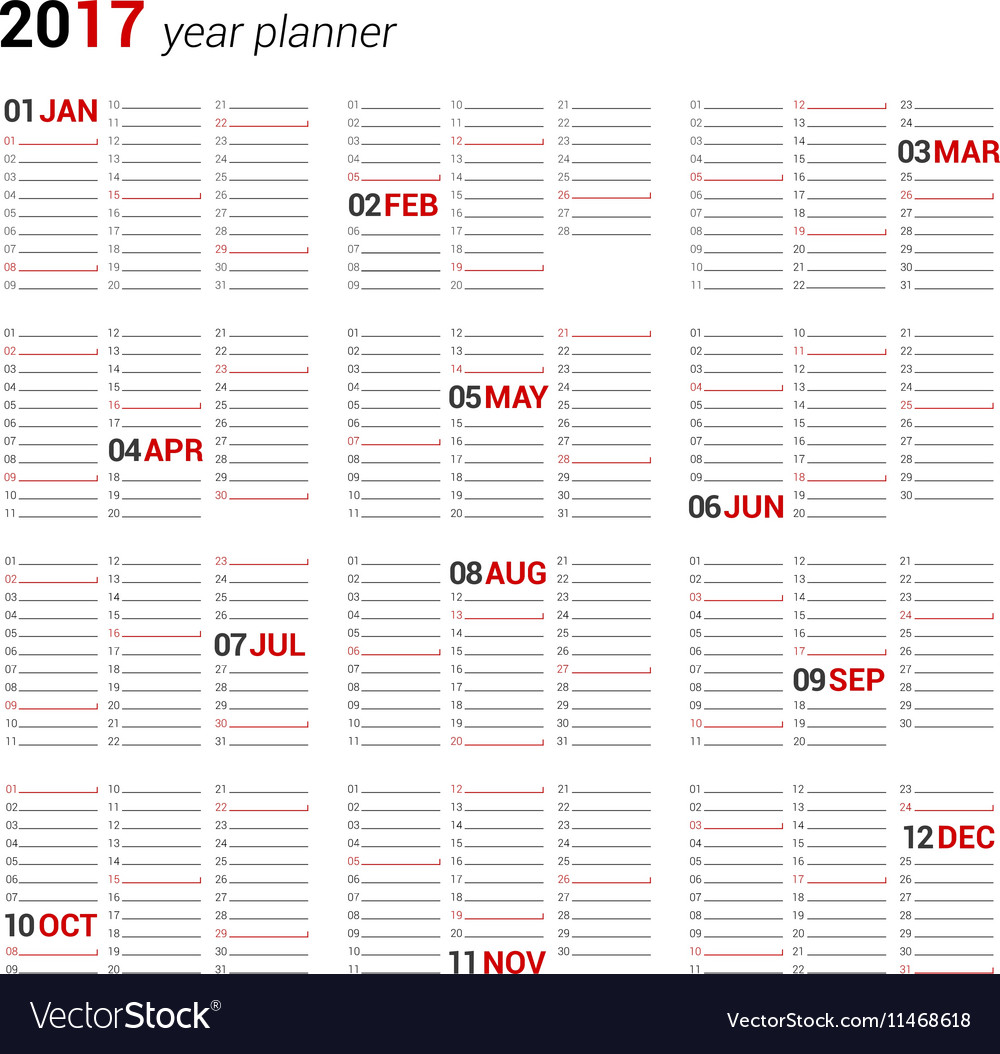 image relating to Yearly Planner Template referred to as On a yearly basis Wall Calendar Planner Template for 2017