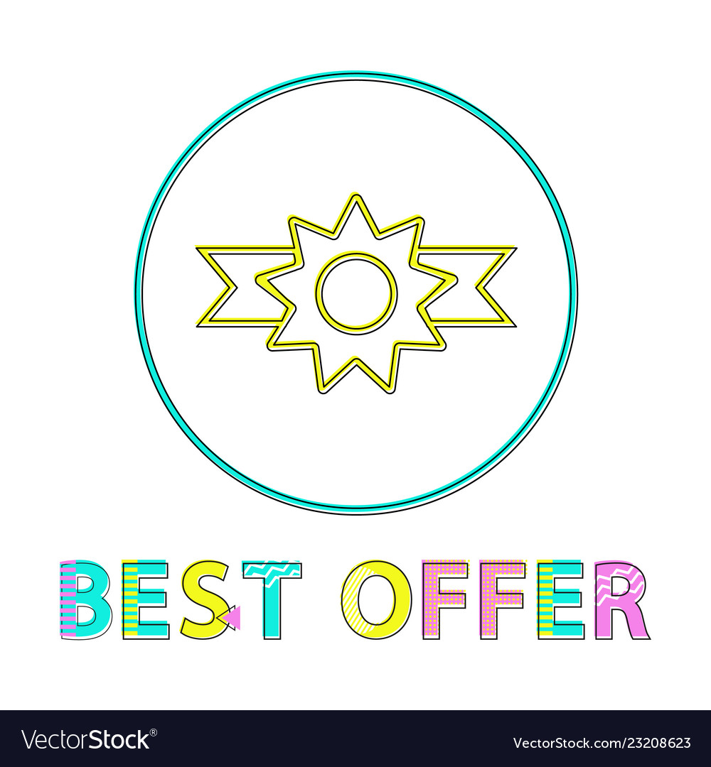 Best offer badge with ribbon minimalist line icon