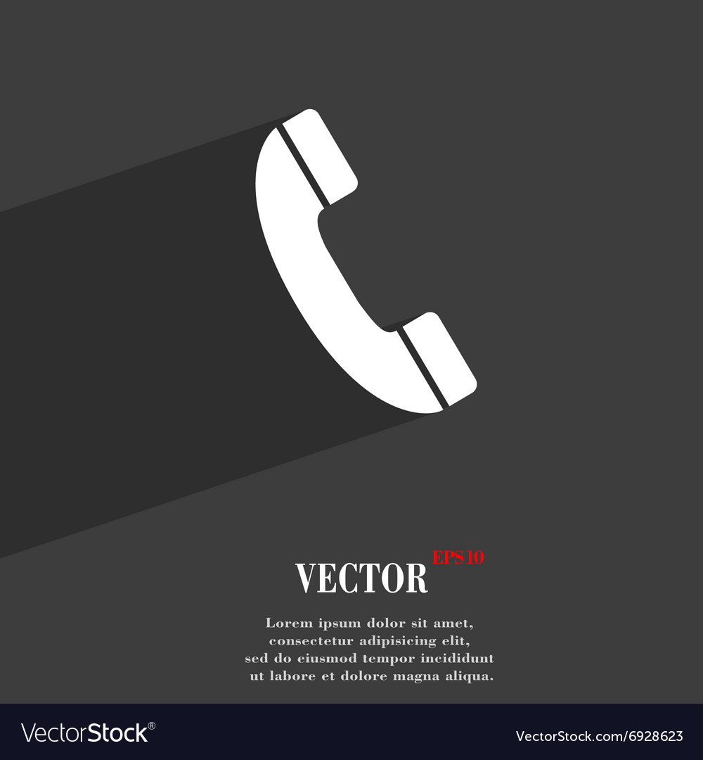 Call symbol Flat modern web design with long