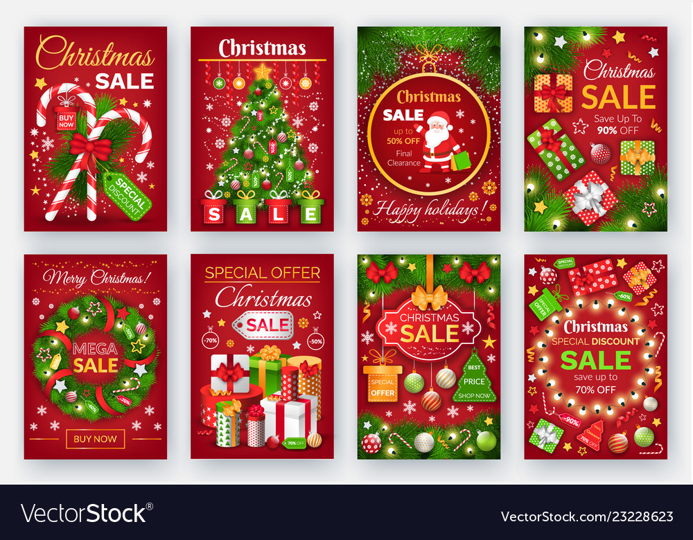 Christmas discount cards with decorations