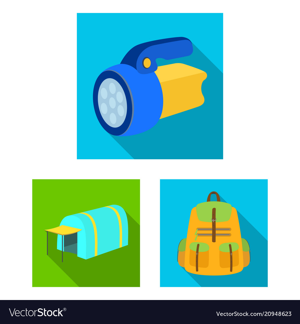 Different kinds of tents flat icons in set