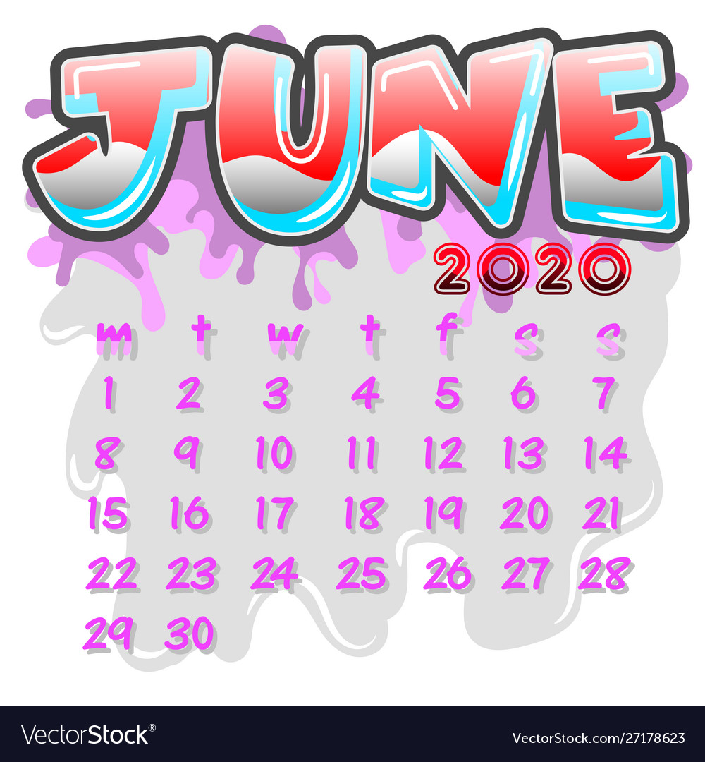 June 2020 month calendar Royalty Free Vector Image